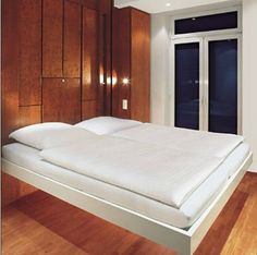 Transformer Furniture For The Amazing Cantilevered Bed Drops Down From Ceiling : TreeHugger Murphy Bed, Bedroom Decor, Furniture, Bed, Ceiling Bed, Home, Bed With Posts, Interior Design Furniture, Tiny House Interior