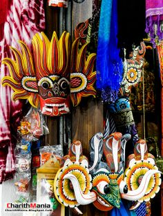 #24 Traditional masks at Kandy Central Market, Sri Lanka. The art of traditional wooden masks has been derived from the ancient Sri Lankan dancing styles. Photographed by Charith Gunarathna.