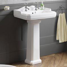 Victoria II Basin & Pedestal - Double Tap Hole [PT-CB629FB2] - £119.99 : Platinum Taps & Bathrooms