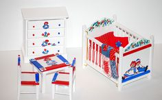 Dollhouse Miniature Raggedy Ann Andy Baby Nursery Crib Set Hand Painted Signed | $$$