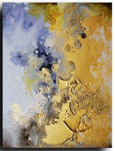 "10""x8"" ORIGINAL Abstract Painting on canvas board - texture - Tatjana Ruzin  Contemporary - Illusion - Expressionism metallic gold blue"