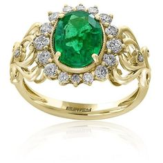 Effy Emerald Emerald And Diamond Ring In 14K Yellow Gold (106,235 INR) ❤ liked on Polyvore featuring jewelry, rings, emerald, diamond jewelry, 14k gold jewelry, diamond rings, gold ring and diamond enhancer ring