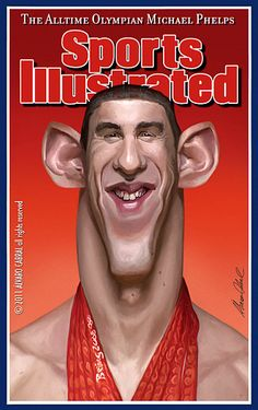 Michael Phelps ~ FOLLOW THIS BOARD FOR GREAT CARICATURES OR ANY OF OUR OTHER…