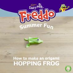 Get creative with Freddo this summer. Learn how to make an origami hopping frog with your kids. Remember, adult supervision is required at all times. Click the pin to learn more and to discover other fun things to do with your kids this summer.
