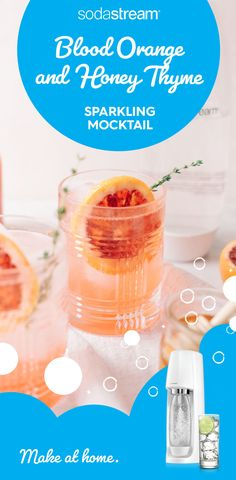 Add a little sparkle to your at-home routine with this refreshing blood orange and honey thyme sparkling mocktail. Summer Drinks, Fun Drinks, Beverages, Tequila Drinks, Cocktail Recipes, Cocktails, Drink Recipes, Orange Sanguine, Jus D'orange