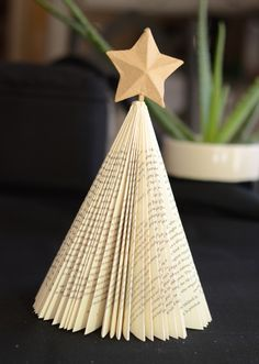 How to make a book page Christmas tree.