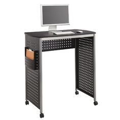 Safco Products Scoot Stand-Up Workstation, Black. Stand-Up Workstation. Hole-pattern design. Side pocket holds active files, projects, etc. Sit-Down (sold separately) and Stand-Up Workstations nest together.