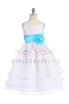 White Organza Flower Girl Dress - CD-574-WH CD-574-WH $56.95 on www.GirlsDressLine.Com