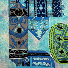 Vintage THC Hawaiian Print Lava Cloth Cotton Fabric, Tribal Tapa Print, BTY #TheHawaiiCorporation