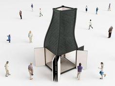Exhibition kiosk. Image Courtesy of NL Architects
