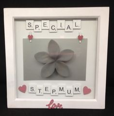 White wooden scrabble letters saying Special Stepmum, with hand painted wooden hearts & love word. Two wooden heart pegs to hold a inch photo. The frames are white, wooden inches. Scrabble Letters, Mothers Day Presents, Wooden Hearts, Love Words, Gift Guide, Hand Painted, Personalized Items, Frame, Words Of Love