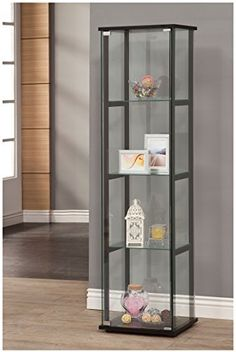 Coaster 950171 Contemporary Glass Curio Cabinet, 3 Glass Shelves made of temper glass Glass China Cabinet, Glass Curio Cabinets, Glass Shelves In Bathroom, Floating Glass Shelves, Tempered Glass Shelves, Glass Cabinet Doors, Display Cabinets, Glass Doors, Cupboards