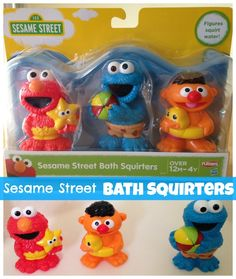 My boy loves his Sesame Street Bath Squirters.  They come with Elmo, Ernie and Cookie Monster and they squirt water. #BathToys