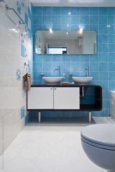 Modern blue bathroom by Aleksandar Novoselski - Stocksy United Double Vanity, Bathtub, The Unit, Bathroom, Modern, Photos, Blue, Standing Bath, Washroom