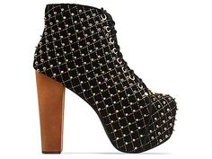 Jeffrey Campbell Lita Quilted in Black Suede Gold at Solestruck.com