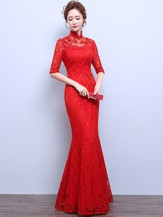 Red Appliques Lace Fishtail Qipao / Cheongsam Wedding Dress