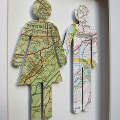 "Cute Idea.  Titles ""Where We're From""  People outlines made from maps that have personal connections to where the person lived their childhood.  The artist writes ""The scale and colour may vary but the exact location will always feature just above the heart of each figure."" £30   You can definitely make this cheaper and here in US!  Thanks to a creative artist!!!"