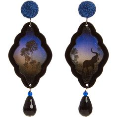 Anna E Alex Elephant Safari Deco Wooden Earrings ($315) ❤ liked on Polyvore featuring jewelry, earrings, elephant earrings, holiday earrings, deco earrings, african earrings and handcrafted jewelry