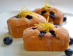 Blueberry and lemon drizzle mini loaf cakes