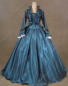 Civil War Victorian Satin Ball Gown Day Evening Dress Reenactment 170 XL | eBay