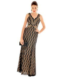 Vestido longo sereia #renda #recortes