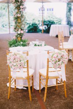 pink chair wreaths for the bride & groom | Sam Stroud #wedding