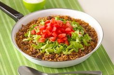 Tex-Mex Taco Dinner recipe-one of my favorite recipes. Eric loves it.  Prepare with ground turkey- loaded with protein!- DJ