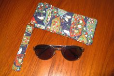 Japanese Quilted Fabric Sunglasses Sleeve Butterflies and Fans Design by JapanesqueAccents on Etsy