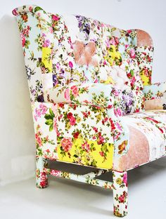 Floral Wing Back patchwork sofa