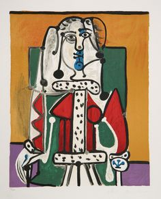 Title: Femme Assise a la Robe d'Hermine Year of Original: 1948 Year of Publication: 1979-1982 Medium: Lithograph on Arches Paper Edition: 500, 34 AP's Paper Size: 29 x 22 inches Ref #: J-144