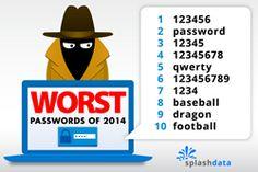De slechtste wachtwoorden van 2014  Bron: http://www.prweb.com/releases/2015/01/prweb12456779.htm