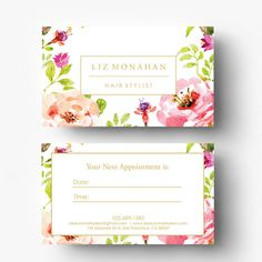 A personal favorite from my Etsy shop https://www.etsy.com/ca/listing/526682306/pre-made-appointment-card-design-salon