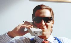 """Christian Bale in the 2000 film adaptation of Bret Easton Ellis's novel """"American Psycho"""". American Psycho, Christian Bale, Retro Vintage, Literary Characters, Ray Ban Sunglasses Sale, Sunglasses Outlet, Wayfarer Sunglasses, Mary Sue, Character Names"""