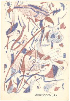 E. Besozzi pitt. 1960 Composizione biro su carta cm. 13,1x9 arc. 588