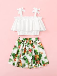 Girls Bow Strap Flounce Top & Tropical Skirt Set – Kidenhouse Source by kidenhouse skirt and top Teenage Girl Outfits, Girls Summer Outfits, Cute Girl Outfits, Girls Fashion Clothes, Summer Fashion Outfits, Cute Outfits For Kids, Girly Outfits, Cute Casual Outfits, Cute Fashion