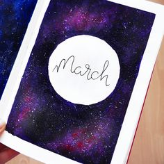 Bullet journal monthly cover page, March cover page, hand lettering. | @rachelmay46