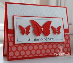 Stampin Up Butterfly Edgelit, Thinking of You, Swiss Dots Embossing Folder
