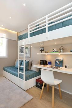 The most fun sleepover or shared young sibling bedroom furniture in t… Bunk beds! The most fun sleepover or shared young sibling bedroom furniture in the world and there are some really spectacular designs right now! Room Inspiration Bedroom, Bedroom Interior, Bedroom Design, Home Room Design, Kids Bedroom Designs, Room Design Bedroom, Small Room Design, Bunk Bed Rooms, Room Design