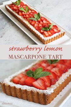 Looking for an easy elegant dessert? Nothing says summer like this fresh strawberry lemon mascarpone tart. Mini Desserts, Elegant Desserts, Strawberry Desserts, Summer Desserts, Just Desserts, Strawberry Tarts, Fruit Tarts, Plated Desserts, Tart Recipes