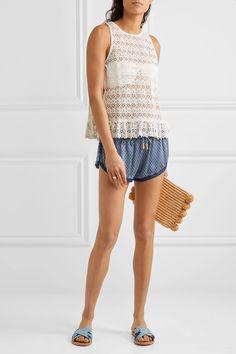 Paloma Blue - Sorrento Tie-side Crocheted Cotton Top - White - medium