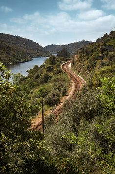 Landscape of Belver region with Tagus river and railway - Portugal