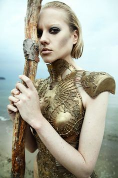 Seaside Warrior Editorials - The Editorial 'Other Planet' Shows a Strong Female Warrior by the Sea