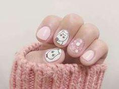 Moomin น่ารัก คิ้วท์ๆ Glitter Nail Art, White Nails, Cartoon, Floral, Painting, White Nail Beds, Flowers, Painting Art, White Nail
