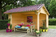 Kapschuur Twente; een kleurrijk geheel met stoere dakpannen! #blokhutvillage