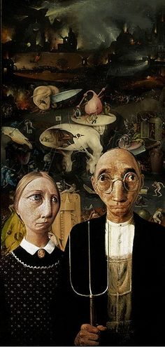 American Gothic: Imagined Hell by Bosch American Gothic Painting, American Gothic House, Grant Wood American Gothic, American Gothic Parody, Deviant Art, Famous Artwork, Hieronymus Bosch, Mona Lisa, European Paintings