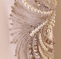 Embellished with beads and hand stitched embroidery. Pearl Embroidery, Tambour Embroidery, Couture Embroidery, Silk Ribbon Embroidery, Beaded Embroidery, Embroidery Stitches, Embroidery Patterns, Hand Embroidery, Tambour Beading