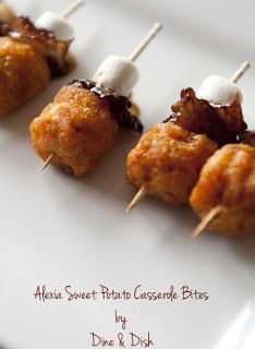Sweet Potato Bites tater tot, bacon, marshmallow, toothpick perfect thanksgiving appetizer. Making def!
