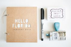 My mini album / travel journal for Florida. Includes many styles of pages, including Silhouette Cameo cuts and Project Life cards.