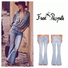 "Free People Flare Jean🆕 A woven band of lively geometric embroidery encircles the waistline of high-waisted jeans that hug your figure through the knees before blossoming into a playful, floor-grazing flare. - Zip fly with button closure - 4 pocket construction -Embroidered waist trim - Whiskered, faded detail - Flare leg - Approx. 11"" rise, 34"" inseam, waist 16"" - Lightwash  Fiber Content: 98% cotton, 2% spandex Care: Machine wash cold,   NEVER WORN/////NWOT////. (6) Free People Jeans…"