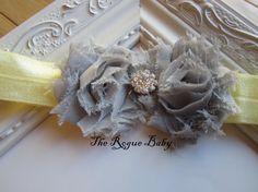 Petite Baby Headband  Gray Yellow Rhinestone by TheRogueBaby, $8.00